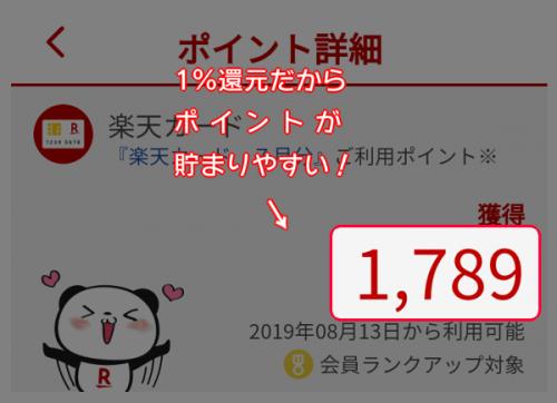 【楽天カード】1%還元だからポイントが貯まりやすい!
