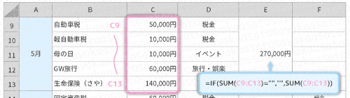 【エクセルで特別費の管理】SUM関数で合計金額を出す