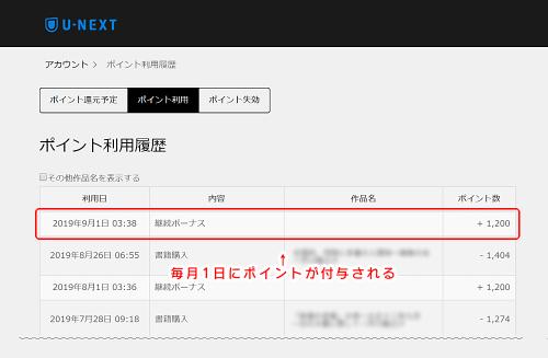 【U-NEXT】ポイントは毎月1日に付与される