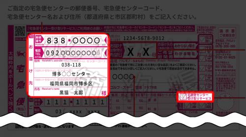 【クロネコヤマト】宅急便センター受け取りサービスの送り状