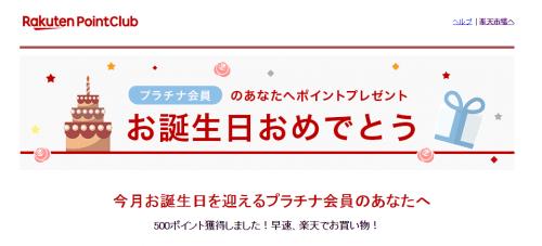 【楽天】バースデーポイント手続き方法-ポイントゲット完了